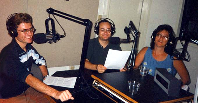 "Donna voicing the ""Apalachicola Doin' Time"" documentary at WUFT with co-hosts Daniel Beasley and Josh Azriel in 1999"