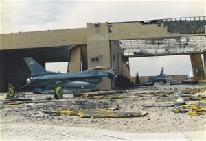 Damage from Hurricane Andrew to Homestead Air Force Base in August of 1992