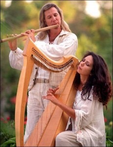 Flutist George Tortorelli performing with harpist Lisa Lynne