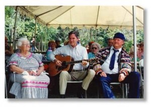 Cousin Thelma Boltin, Gamble Rogers and Will McLean 1988 50th Anniv of The Yearling in Cross Creek (photo by Iris Greenfield)