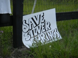One of many different signs protesting water permit request for Adena Ranch in Marion County.