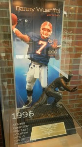 Danny Wuerffel with trophy in case