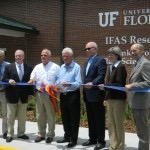 Various IFAS administrators cut the ribbon on the new Frank Stronach Plant Science Center Conference facility on Tuesday.