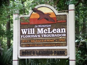 Sign dedicated to Will McLean at Gore's Landing
