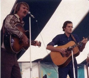 Early photo of Dale Crider and Gamble Rogers sharing a stage