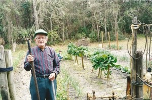 Homer Marks by his garden behind his home in Apalachicola in 2000 at the age of 97