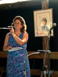 Donna emceeing at the Will McLean Folk Festival
