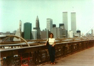 Donna in front of World Trade Center Twin Towers 1984