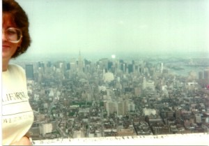 Donna on top of World Trade Center Twin Towers 1984 in New York