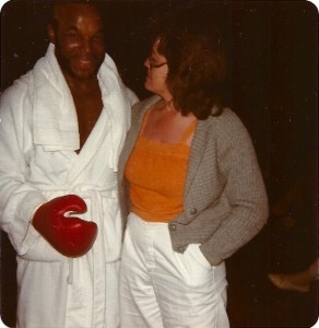 Donna with Mr T at filming of Rocky III in LA 1981