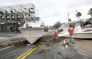 Boats washed ashore from Hurricane Hermine (photo credit AP)